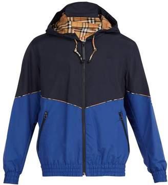 Burberry - Elworth Contrast Panel Hooded Bomber Jacket - Mens - Blue