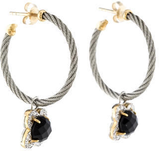 Charriol Charriol Onxy & Diamond Cable Hoop Earrings