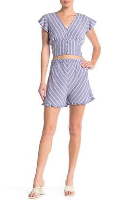 2d2eca9a6b6 Angie Woven Striped Side Button Shorts