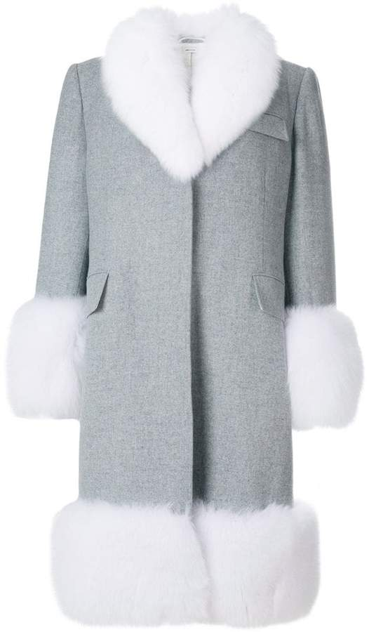 Oversized Flannel Chesterfield Coat With Fox Fur Trim