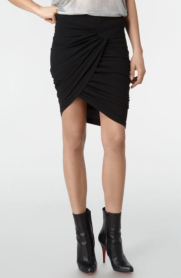 Helmut Lang Crepe Faux Wrap Skirt