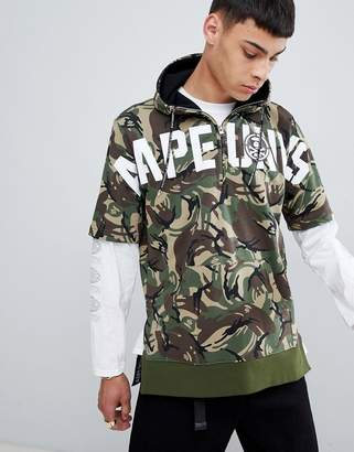 A Bathing Ape AAPE BY AAPE By short sleeve hoodie with logo in camo