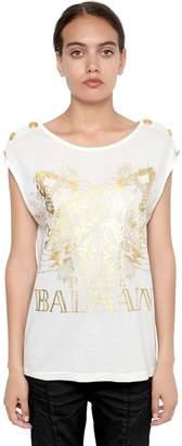 Pierre Balmain Koi Fish Print Striped Jersey T-Shirt