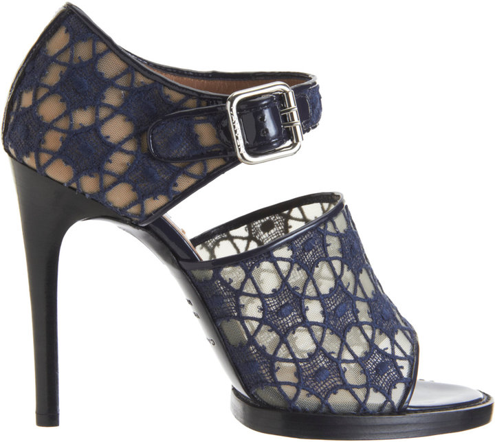 Carven Embroidered Lace Mary Jane Sandals