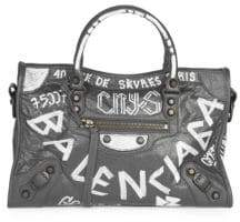 Balenciaga Small Graffiti Classic City Leather Shoulder Bag