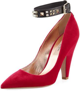 Valentino Precious Velvet Ankle-Wrap Pumps