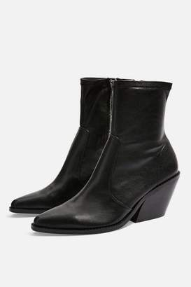 Topshop MISSION Leather Western Boots