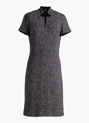 St. John Inverted Collar Tweed Dress