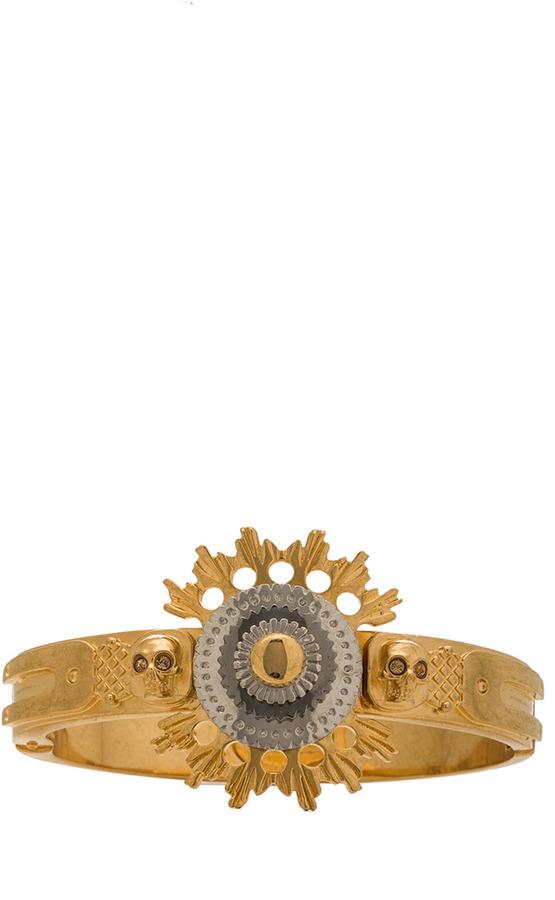 Alexander McQueen Flower Bracelet with Swarovski Crystals in Gold