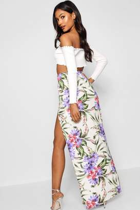 boohoo Jungle Print Thigh Split Maxi Skirt