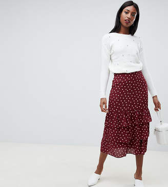 Fashion Union Tall tall midi skirt in heart print
