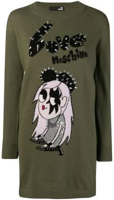 Love Moschino embroidered logo dress