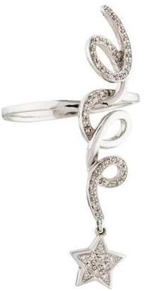 Ring 14K Diamond Star Dangle Swirl