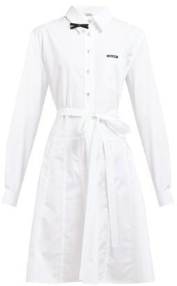 Miu Miu Bow Embellished Cotton Poplin Shirt Dress - Womens - White
