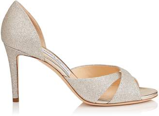 Jimmy Choo LARA 85 Platinum Ice Dusty Glitter Sandals