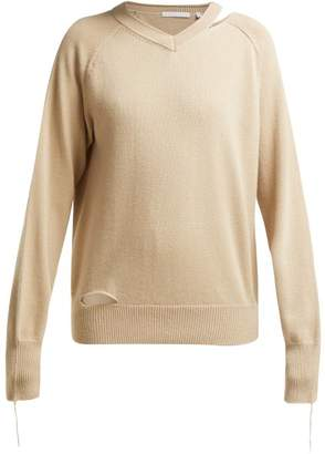 Helmut Lang Slit Cotton Blend Sweater - Womens - Beige