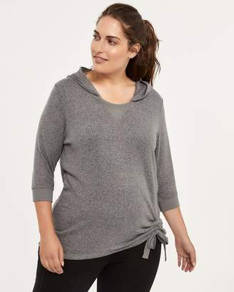 Plus Size 3/4 Sleeve Hoodie with Drawstring - ActiveZone