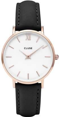 Cluse Women's Minuit 33mm Black Leather Band Metal Case Quartz Watch CL30003
