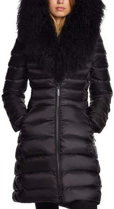 Dawn Levy Camile Mongolian-Trim Fitted Puffer Jacket