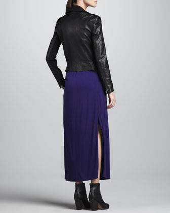 DKNY Asymmetric Zip-Front Leather Jacket