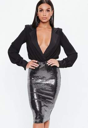 Missguided Black Sequin Disc Twist Side Midi Skirt