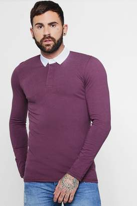boohoo Long Sleeve Rugby Polo In Muscle Fit