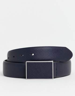 Asos Design DESIGN faux leather wide belt in navy emboss with plate buckle