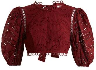 Zimmermann Jaya Wave Cotton Top - Womens - Burgundy