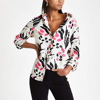 River Island Womens Pink animal print loose fit shirt