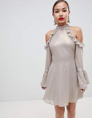 Glamorous cold shoulder frill detail dress
