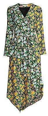Maje Women's Floral Asymmetric Hem Wrap Dress