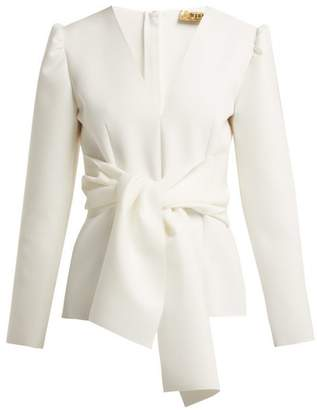 MSGM Tie Front Crepe Blouse - Womens - White