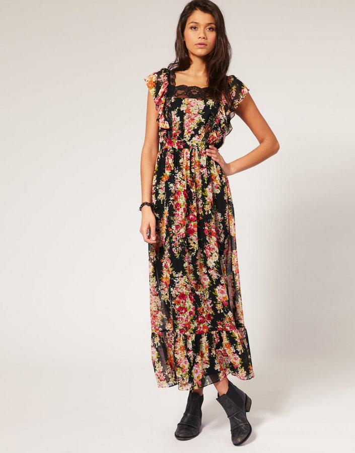 Lipsy Lace Trim Floral Maxi Dress