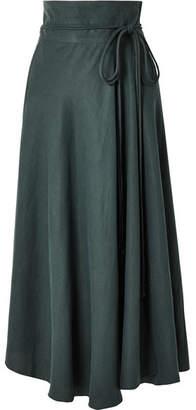 Apiece Apart Rosehip Tencel And Linen-blend Wrap Skirt