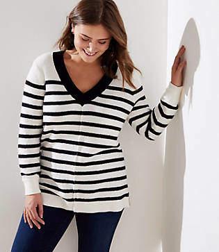 LOFT Plus Striped Drop Shoulder V-Neck Sweater