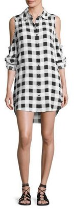 La Blanca Eyes on You Cold-Shoulder Buffalo Check Shirtdress, White/Black $115 thestylecure.com