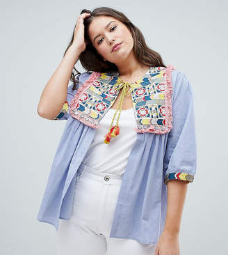 Glamorous Curve Bed Jacket With Embroidered Panel And Tassle Ties In Chambray