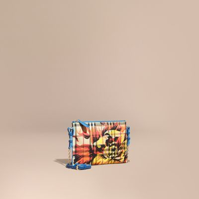 Burberry Peony Rose Print Haymarket Check and Leather Clutch Bag