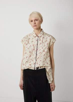 Péro Silk Floral Print Cap Sleeve Blouse White Pink Floral
