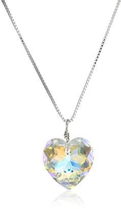 Swarovski Sterling Elements Crystal Aurora Borealis Heart Pendant Necklace