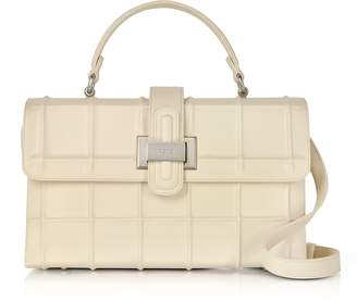 Rodo Ivory Calf Leather Top Handle Satchel bag w/Shoulder Strap