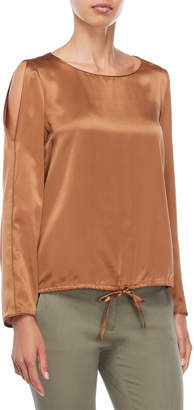 Lafayette 148 New York Maxina Split Sleeve Silk Blouse