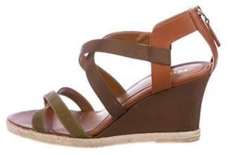 Fendi Crossover Wedge Sandals Olive Crossover Wedge Sandals