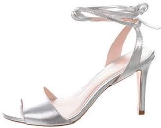 Loeffler Randall Leather Ankle Strap Sandals Silver Leather Ankle Strap Sandals