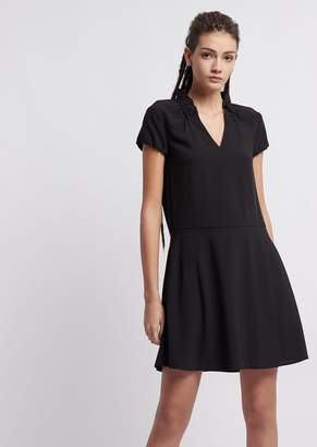 2c0c9cdf8bb Emporio Armani Crepe Dress With Gathered Collar And V Neckline