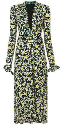 Proenza Schouler V Neck Wildflower Print Crepe Dress
