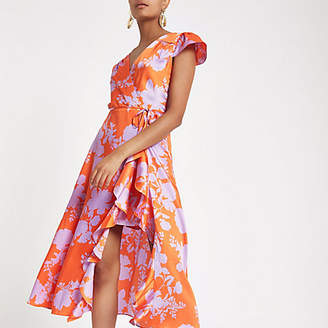 River Island Red floral frill wrap front midi dress