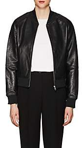 William Rast WOMEN'S LEATHER BOMBER JACKET - BLACK SIZE M
