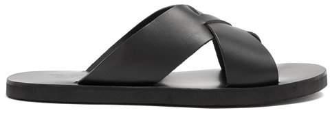 Bios cross-strap leather slides