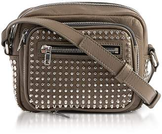 McQ Loveless Dark Khaki Smooth Leather Crossbody Camera Bag W/studs